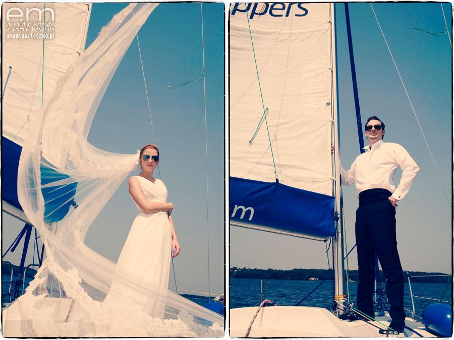 pan i pani młoda na łodzi