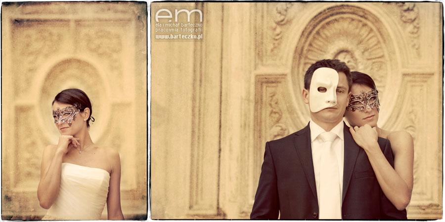 para młoda w maskach weneckich