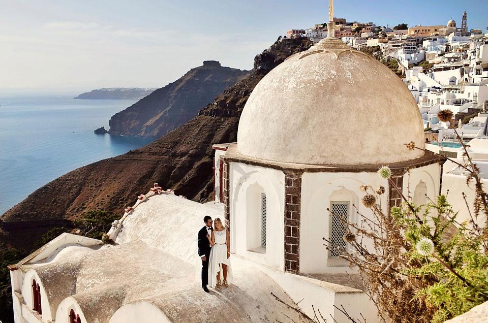 Plener ślubny na dachach Santorini